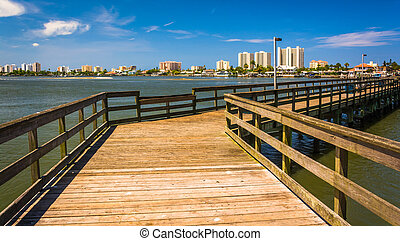 Pier on the Halifax River and view of Daytona Beach, Port Orange