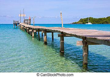 Pier on the island Koh Kood , Thailand