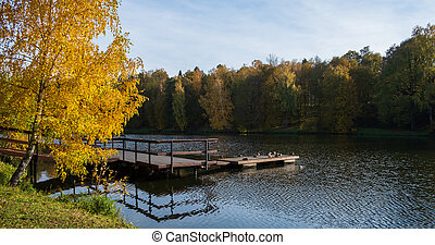 pier on the lake in the park on a autumn day