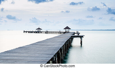 Pier on the sea at loneliness beach