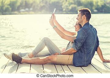 pier, paar, liebe, selfie, sitzen