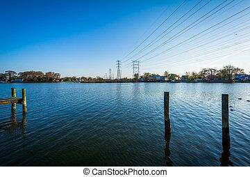 Pier pilings at Merritt Point Park, in Dundalk, Maryland.