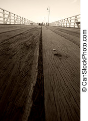 Pier Planks - Long Low Perspective On The Aged Wooden Planks...
