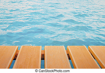 Pier Planks Over Sea Background