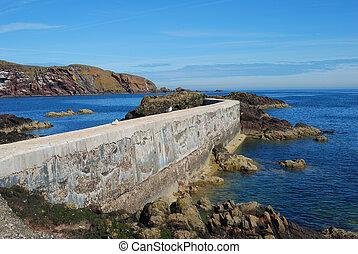 pier, seagulls, cliffs and coast at St. Abbs, Berwickshire