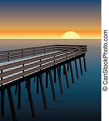 Illustration of a pier on the ocean with sunset or sunrise in the background.