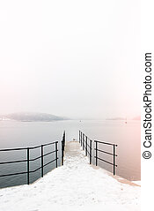 Pier with a seagull in Drøbak, Norway