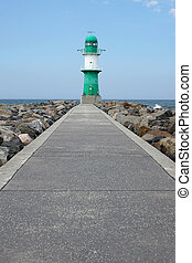 pier with breakwater light or beacon - footpath on pier...
