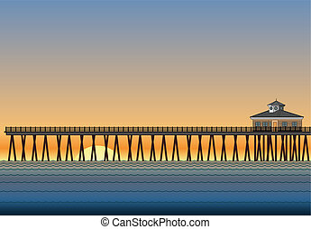 Pier With Sunset - Illustration of a pier on the ocean with ...