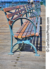 Pier wood metal benches