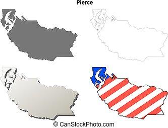 Pierce County, Washington outline map set