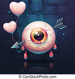 Pierced eye with heart on the brick wall background