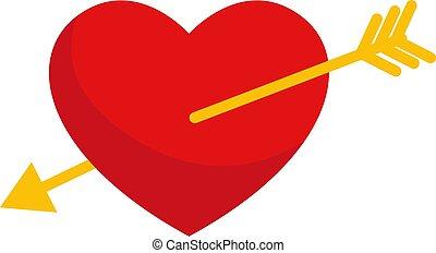 Pierced heart, illustration, vector on white background.