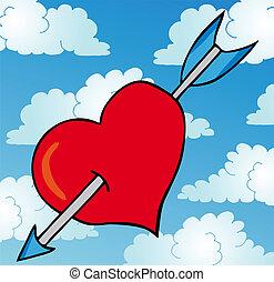 Pierced heart on sky