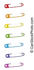 Pierced Safety Pin Collection Colorful Clasp Set
