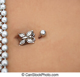 Piercing - Butterfly stud with strings of silver jewellery
