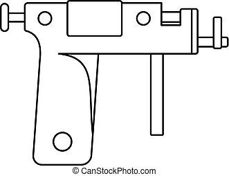 Piercing gun icon outline