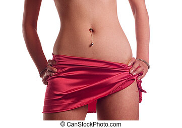 Piercing - Part of woman\\\'s body with piercing on navel
