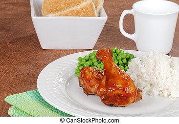 pierna de pollo, vegetales, comida