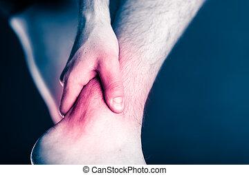 pierna, dolor, tobillo, lesión, doloroso, físico