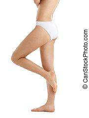 piernas, biquini, bragas, torso, blanco