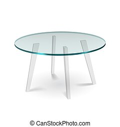 piernas, blanco, cenar, mesa de vidrio, redondo