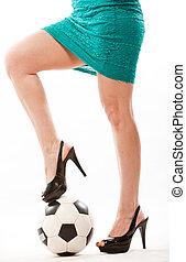 piernas, de, atractivo, mami del fútbol, en, ella, forties