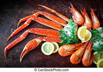 piernas, limón, cangrejo, camarones