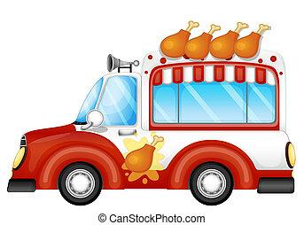 piernas, pollo, venta, frito, vehículo