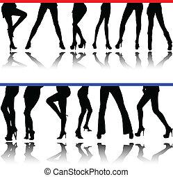 piernas, siluetas, vector, mujer