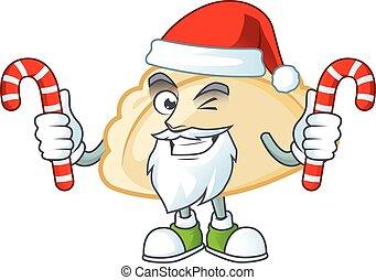 Pierogi Cartoon character in Santa costume with candy