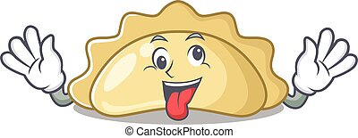 Pierogi Cartoon character style with a crazy face. Vector illustration
