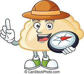 Pierogi character stylized Explorer having a compass. Vector illustration