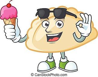 Pierogi mascot cartoon design with ice cream