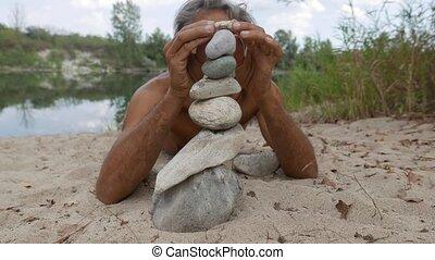 pierre, échouer, équilibre