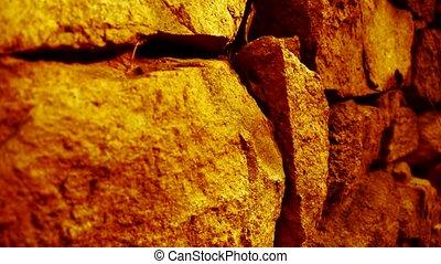 pierre, éclat, mur, doré, lumière soleil