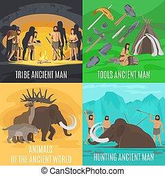 pierre, ancien, âge, préhistorique, concepts