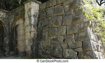 pierre, ancien, balkans., murs, texture