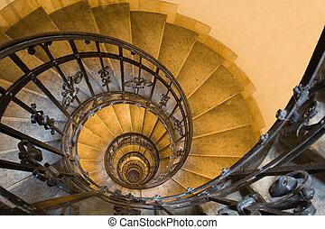 pierre, ancien, escalier, spirale, étapes, tour