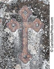 pierre, ancien, vieux, croix, rouillé