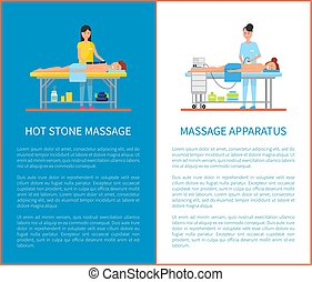 pierre, appareil, équipement, chaud, vecteur, masage
