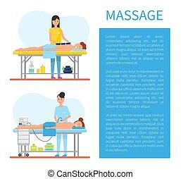 pierre, appareil, chaud, vecteur, thérapie, masage