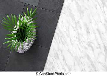 pierre, ardoise, vase, paume, fond, feuilles