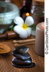 pierre, articles, chaud, traitement, fond, spa, masage