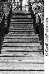 pierre bâtiment, vieux, côté, porte fer, escalier, forgé