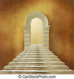 pierre bâtiment, vieux, entrée, escalier