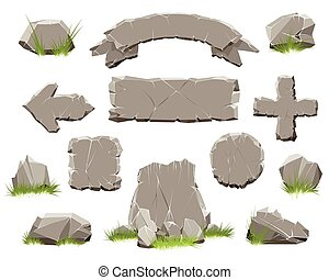 pierre, bannières, rocher, cercle, bouton