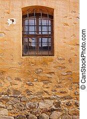 pierre, barres, bâtiment, vieux, mur, rouillé, fenêtre, jaune