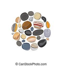 pierre, blanc, isolé, rond, élément
