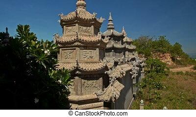 pierre bleue, mur, bouddhiste, ciel, pagodes, petit, temple